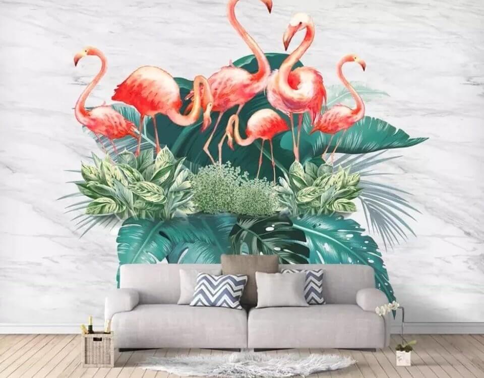 фламинго на листьях фотообои