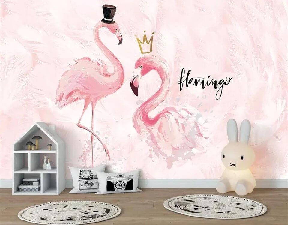 Нежные и великолепные птицы фламинго на бесшовных обоях подходят для детских комнат и спальни.