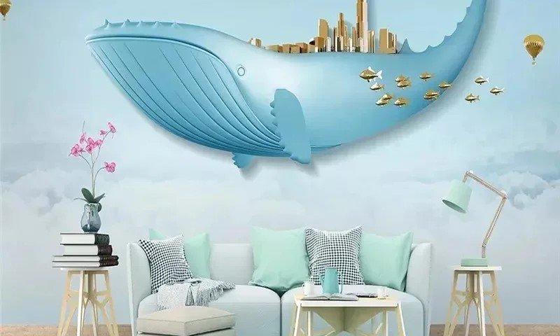 Фотообои с китом и золотыми воздушными шарами прекрасно подойдет для комнаты маленького ребенка или подростка