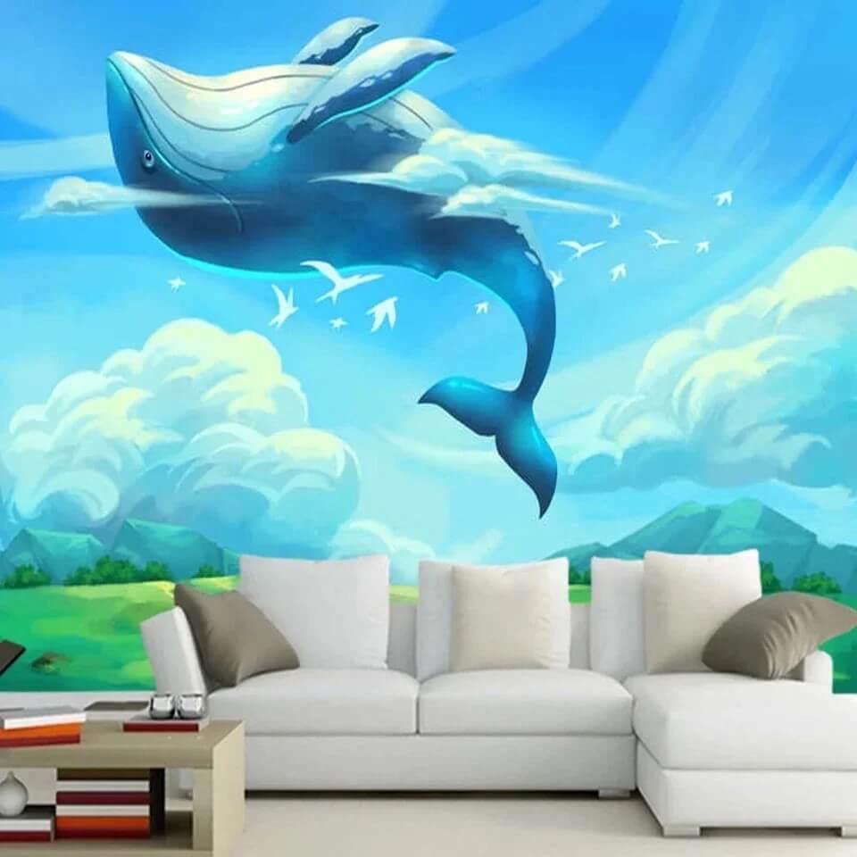 обои с китом в небе
