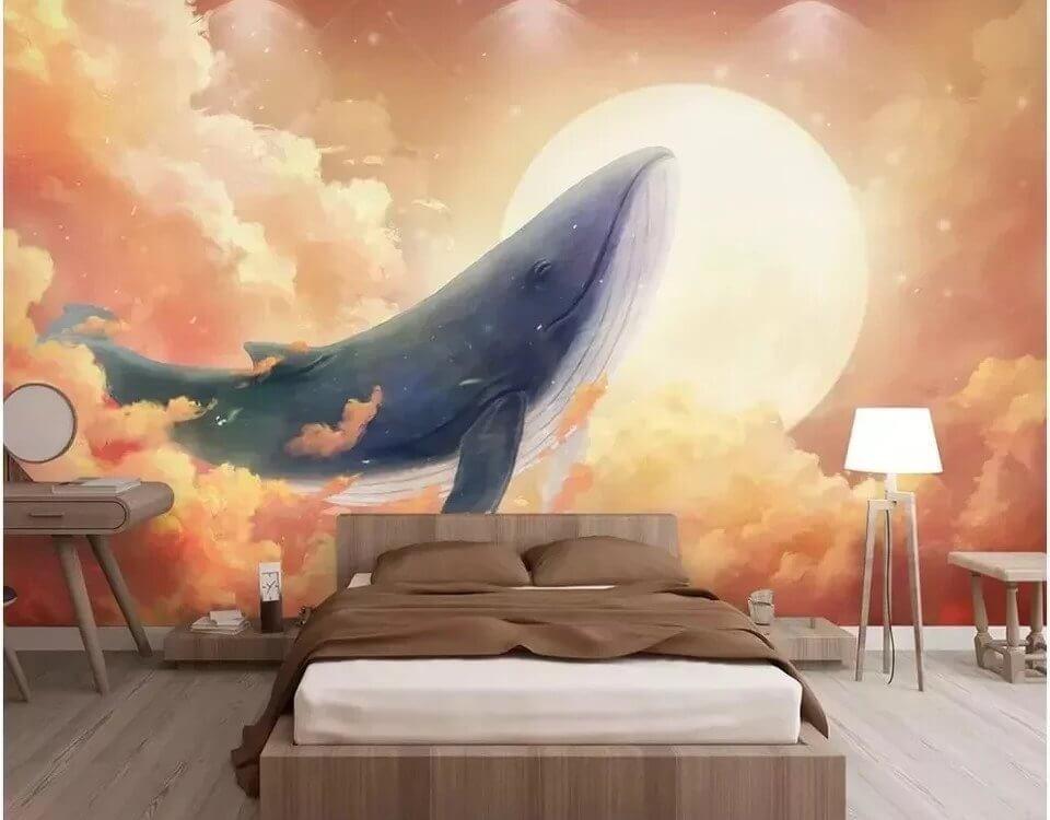 обои с китами в детскую. кит в небе обои. фотообои кит. Большой каталог принтов на нашем сайте. Латексная печать. сертификаты качества.