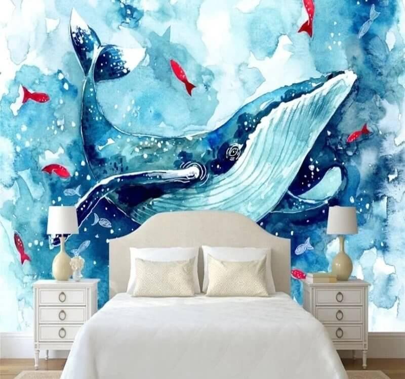 фотообои кит и рыбки