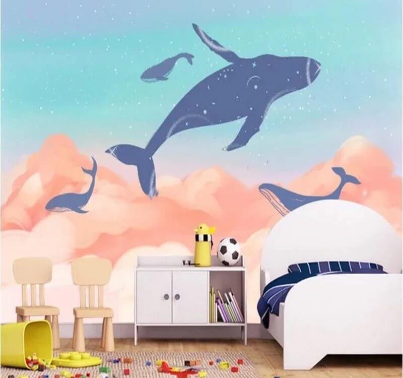 фотообои киты парящие в облаках для детской комнаты