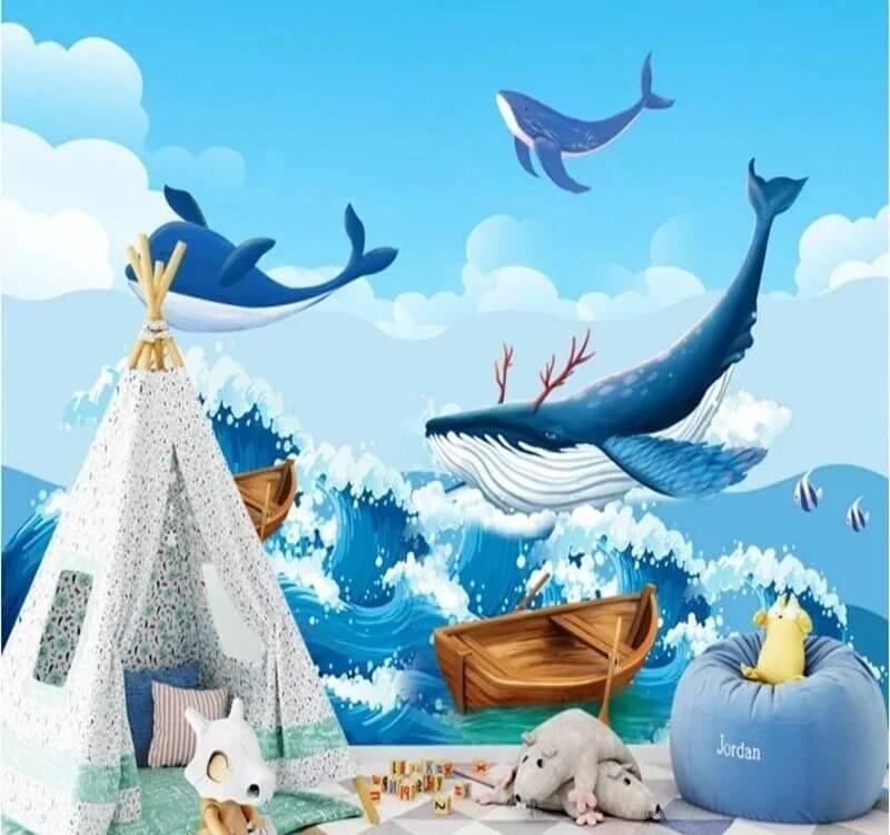 Клиенты часто приобретают детские обои с дельфинами для сказочного и игрового дизайна детских комнат. Немножко фантастические и загадочные картинки приходятся по вкусу детям, развивают игру их воображения, подталкивают к познанию новых рубежей.