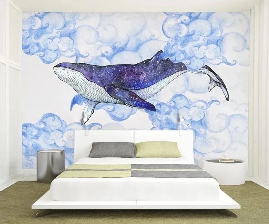 кит в небе обои. фотообои кит из каталога принтов.