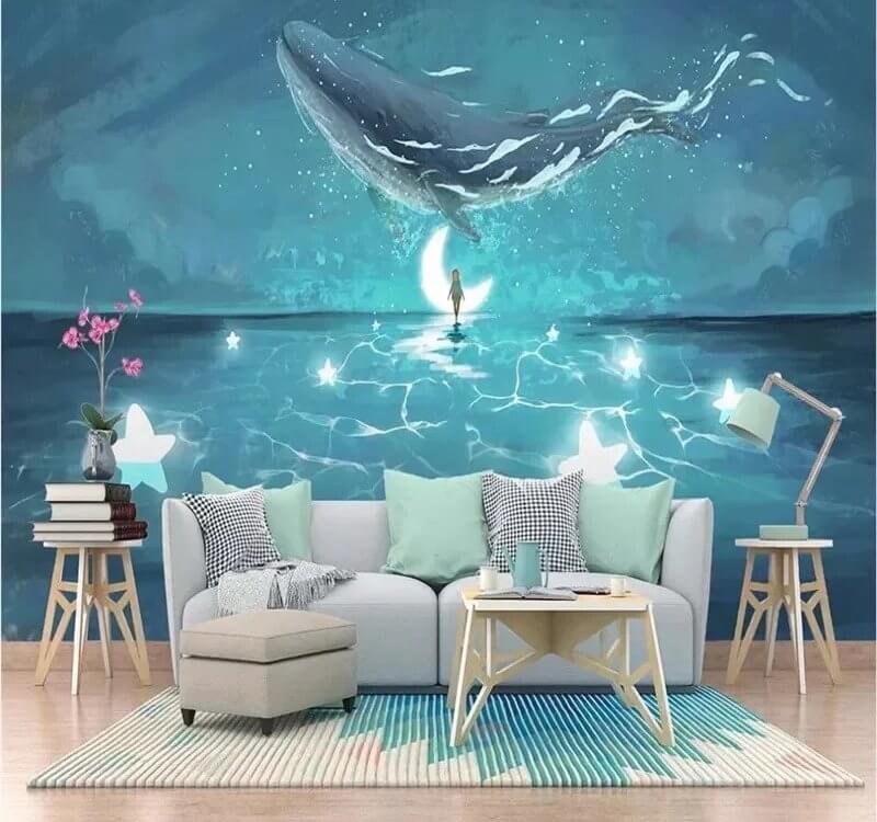 кит в небе обои. фотообои кит. Большая коллекция принтов на нашем сайте. Печать от 990 рублей.