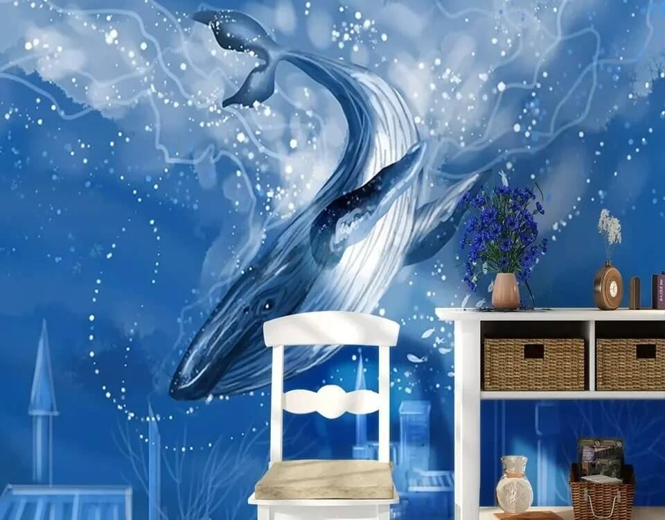 обои кит плывущий к затонувшему городу. дизайнерские обои с китами на бесшовных фактурах