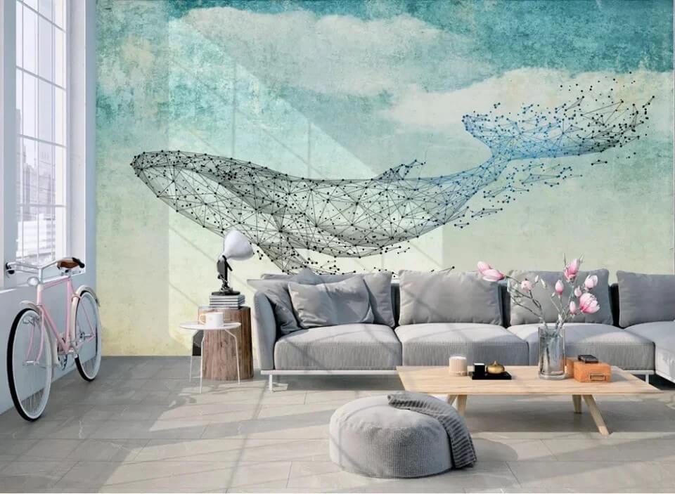Обои кит с точками в облаках