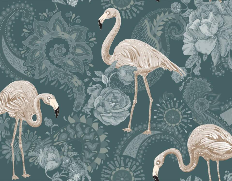Обои с фламинго и цветами