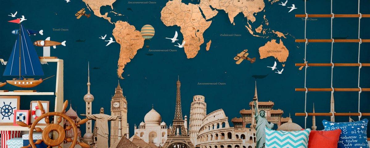 обои карта мира на синем фоне с картинками разных стран. Карта мира для детской комнаты. развивающая карта мира на стену.