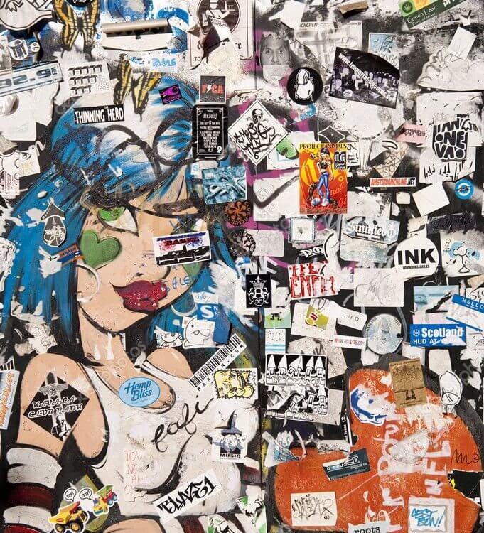 Граффити на бесшовной текстуре отличное дополнение интерьера в комнате подростка