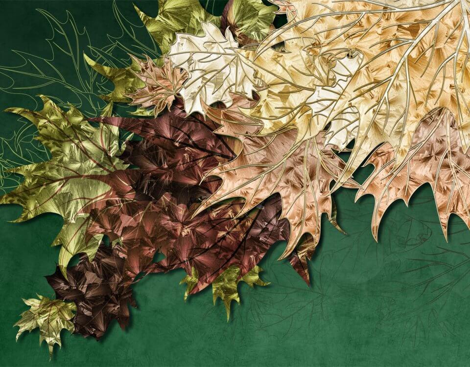 Огромный выбор - фотообои с листьями – в нашей коллекции. Просто выберите то настроение, которое созвучно интерьеру вашей комнаты.