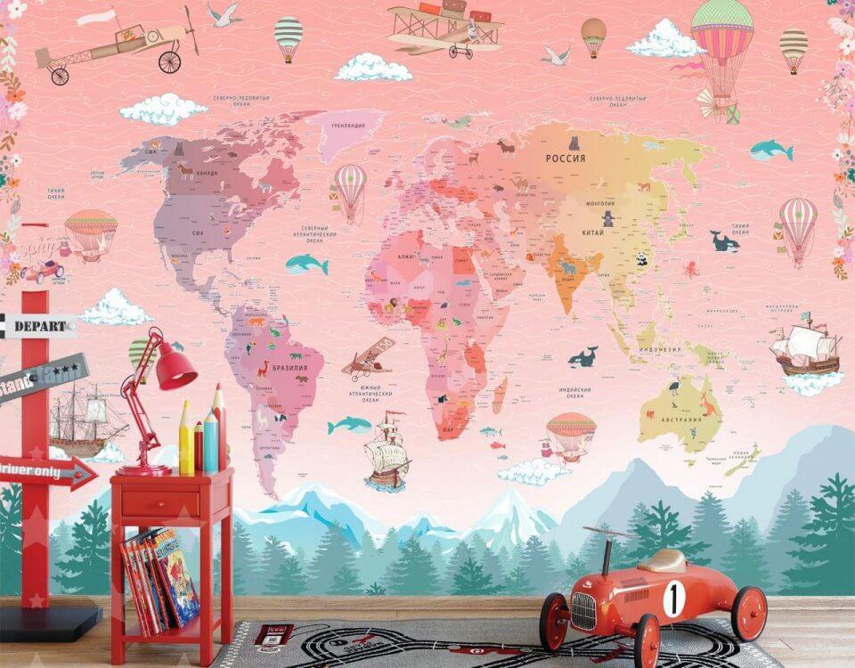 Фотообои карта мира - великолепная возможность для изучения ребенком всех уголков нашего мира