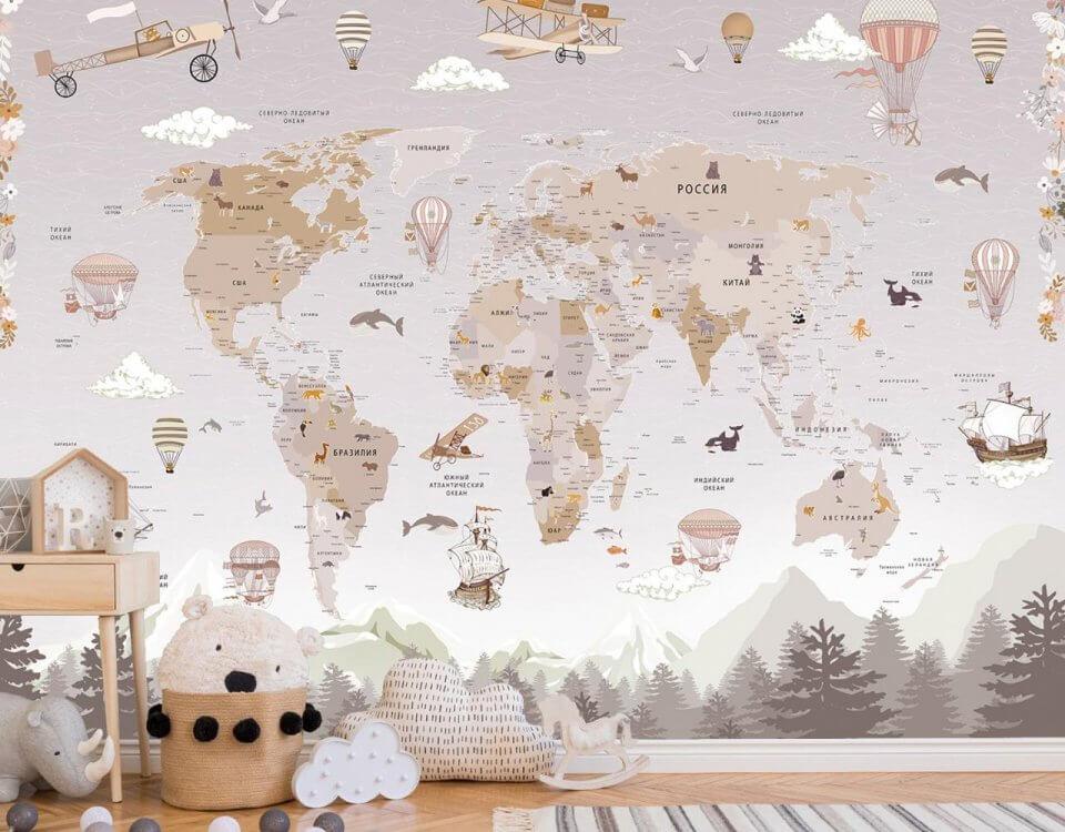 фотообои карта мира с доставкой. латексная печать. Большой выбор материалов.