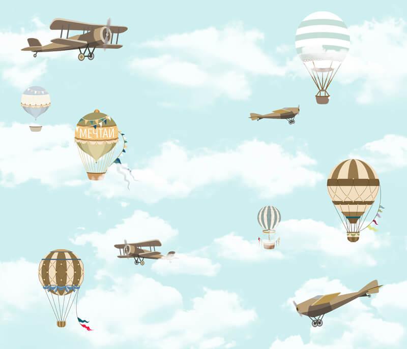 Обои с воздушными шарами и самолетами для мальчиков