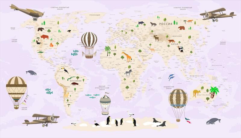 Фотообои карта мира на ярком фоне подходит для оформления детских комнат, как для мальчиков, так и девочек. Ведь какой малыш в детстве не мечтал стать путешественником? Создает игровую обстановку, в которой ребенку хочется находиться как одному, так и в компании с друзьями. Добавит немного современного дизайна в интерьер.