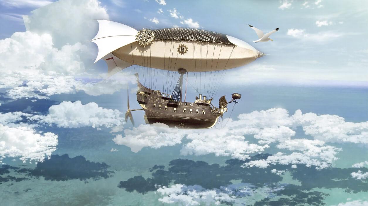 фреска дирижабль летящий в облаках