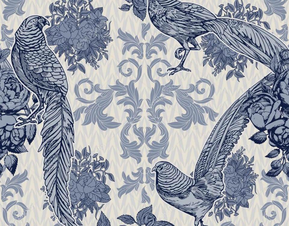 Фотообои или фрески с птицами и узорами оригинальное дополнение к дизайну спальни или будуара