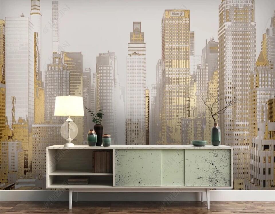 Фотообои золотой город на бесшовных текстурах. Рекомендуем использовать матовые материалы с менее выраженной текстурой.
