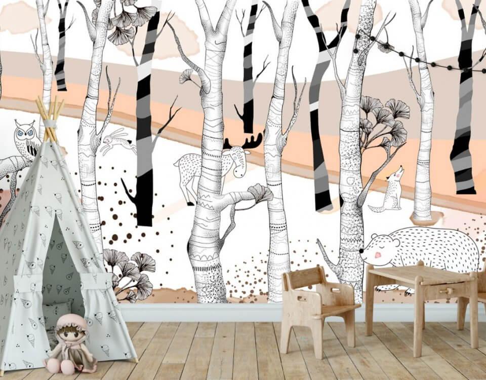 фотообои Лес с полосатыми деревьями и животные