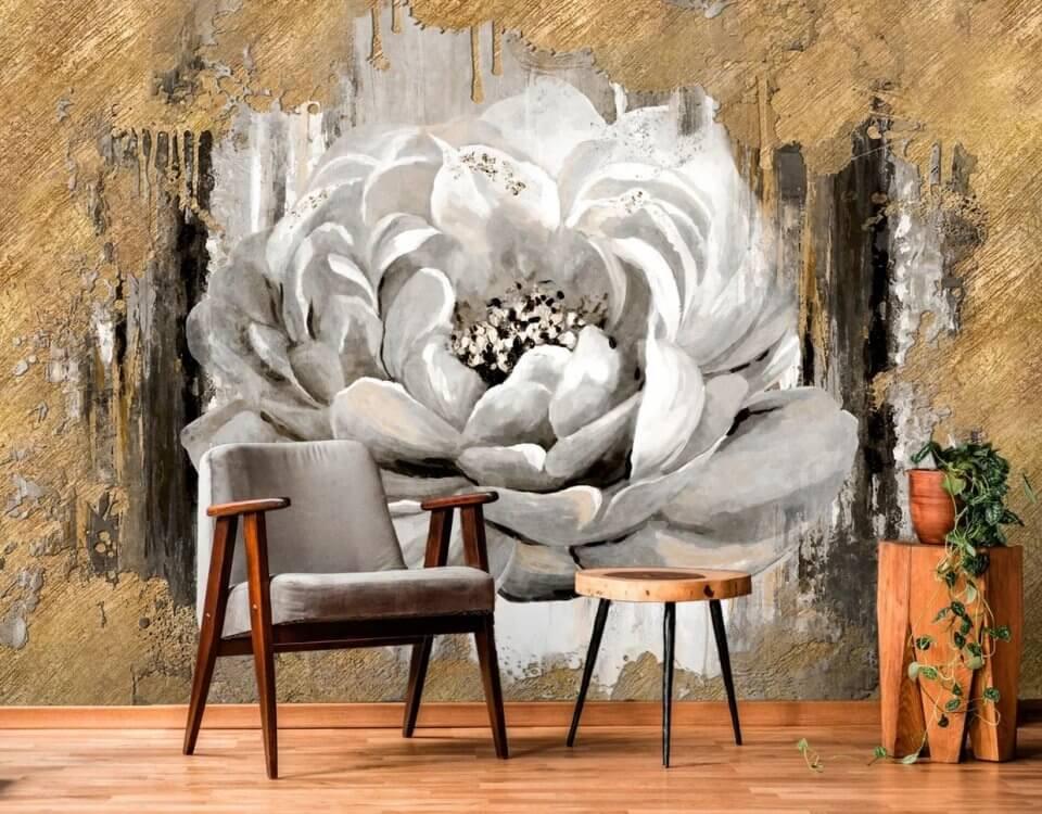 Раскрытый бутон цветка полненный в виде натуральной фрески с нанесением нескольких слоев декоративной штукатурки. Работа заняла 2 дня а впечатлений на много лет. Гарантия качества. ЭКО материалы.