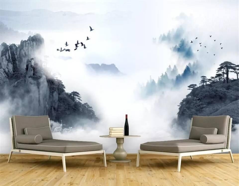 Фотообои с горами в тумане наполнит вашу комнату загадочностью. Рекомендуем использовать гладкие фактуры для печати данного изображения.