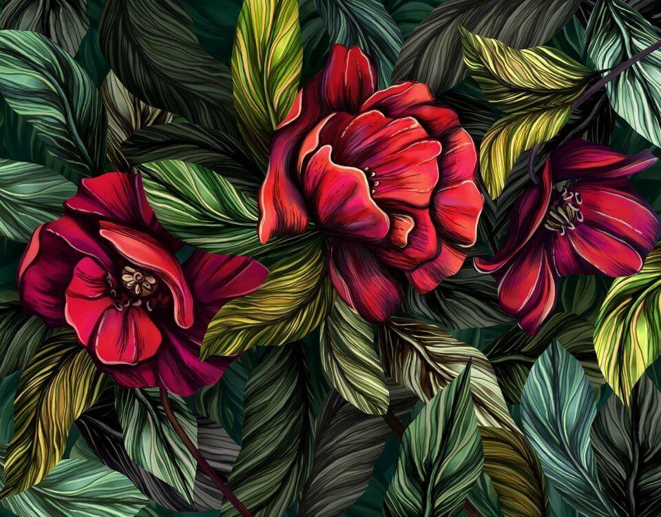 Яркие и красочные цветы на фоне зеленых листьев наполняют помещение запахом зелени и насыщают комнату кислородом. Несколько вариантов цветовой гаммы и выбор материала с ЭКО печатью для помещений с повышенными требованиями СЭС, КМ1 - беопасность