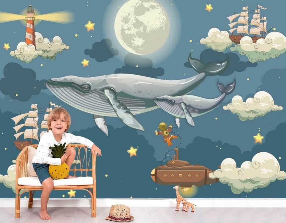 Обои с китами на небе с кораблями
