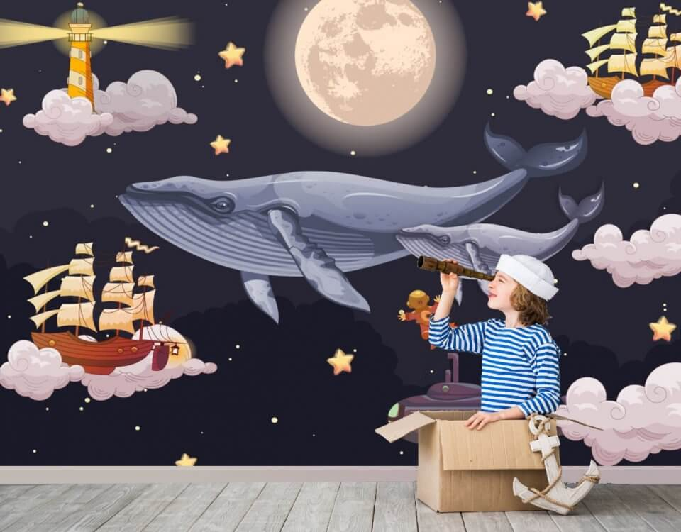 Киты детские обои помогут оформить комнату для ребенка, где ему будет комфортно проводить время и играть в различные игры. Оригинальным решением будут обои киты которые создают свой небольшой сказочный мир в пределах одной комнаты.
