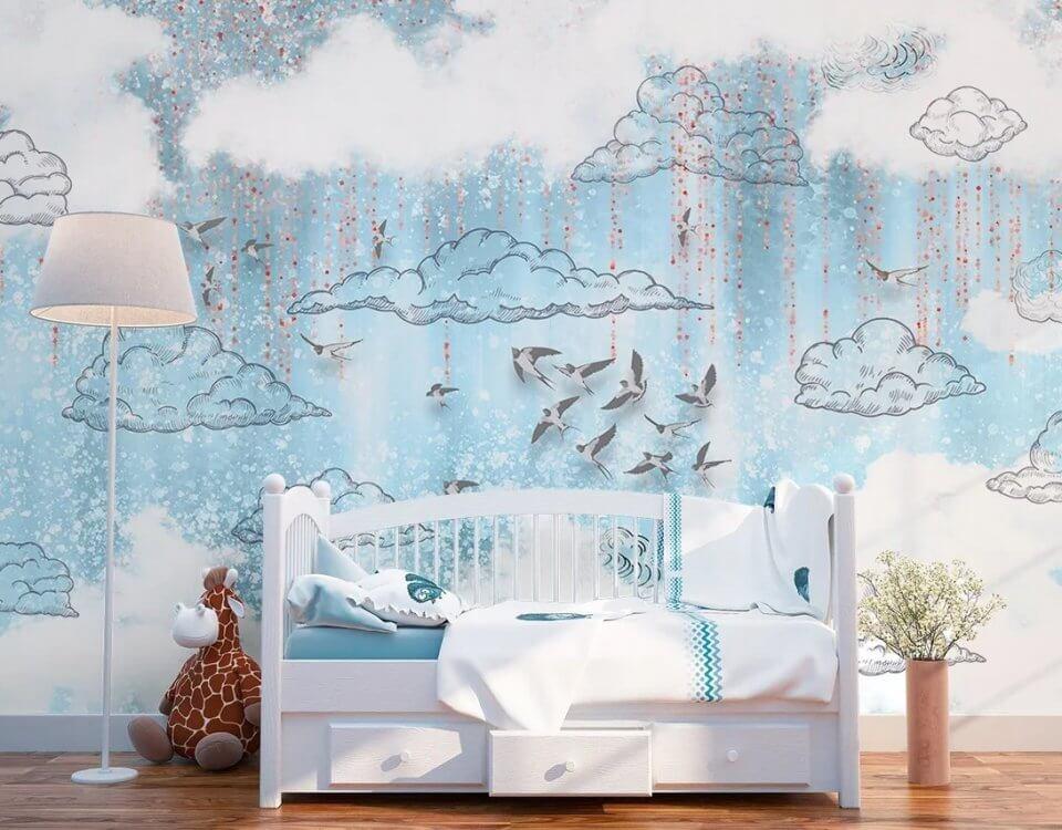 Новая коллекция фотообоев с ласточками для украшения детской комнаты. Выбирайте цветовую гамму подходящую под Ваш интерьер. В любом цвете эти обои будут прекрасным дополнением и украшением помещения