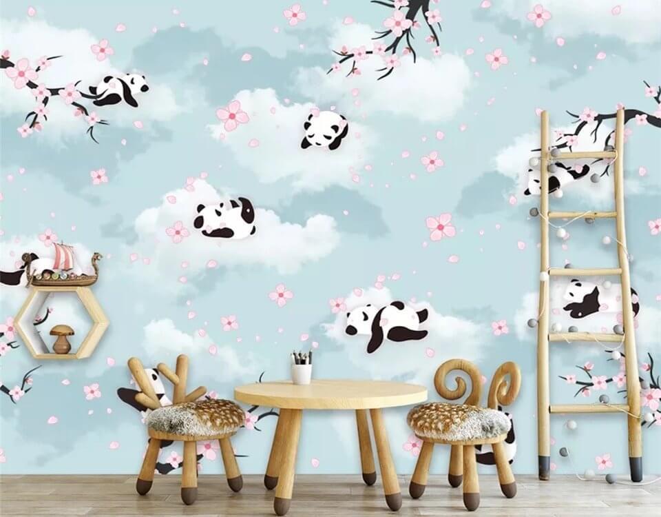 Детские фотообои с пандами украсят детскую комнату и подойдут для детей любых возрастов