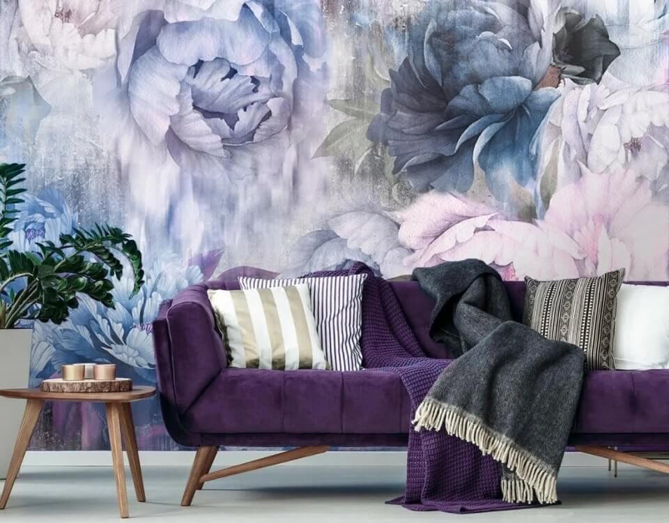 Сочные бутоны цветов притягивают взгляды на фотообои или фреску с цветочным принтом. Выбираем материалы с учетом декора помещения. Изменение цветовой гаммы изображения с учетом вашего интерьера.