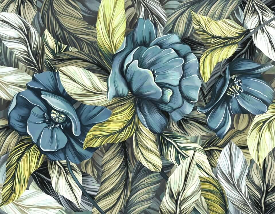Синие бутоны цветов с большими и яркими зелеными листьями украсят помещение гостиной, спальни или будуара. Бесшовные текстуры до 3.2 метров. Безопасные материалы премиум класса с ЭКО печатью для помещений с повышенными требованиями СЭС.