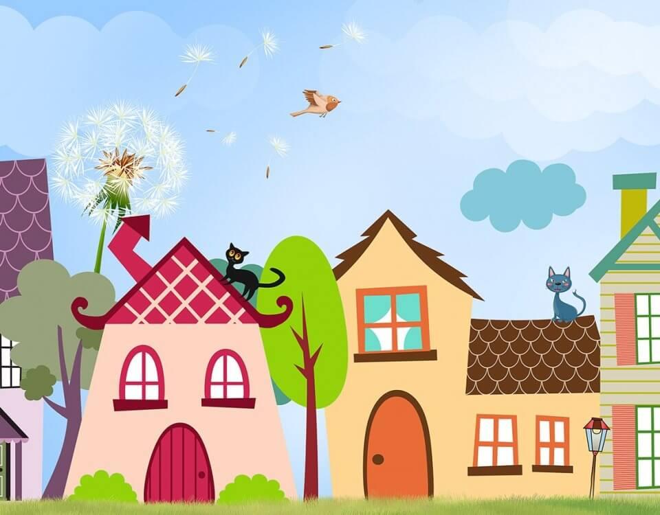 Разноцветные домики для детских комнат и развивающих центров. Сертификаты КМ1. Безопасные материалы. Латексная печать и выбор материалов в т.ч. натуральные холсты.