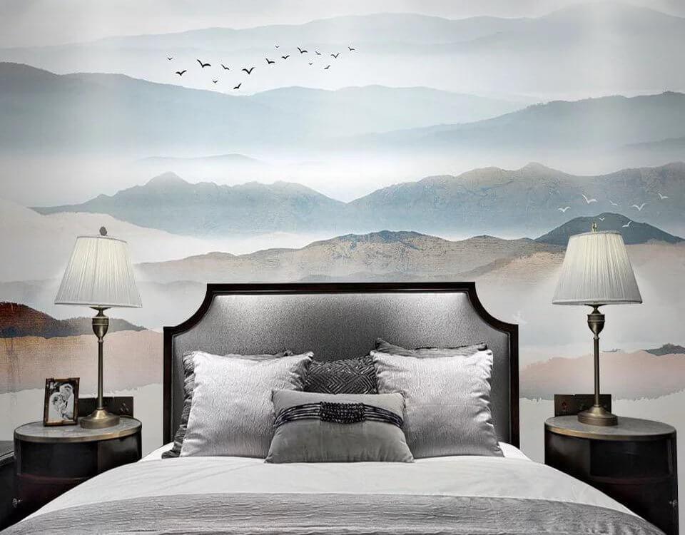 Изображение для спальни с видом на холмы в виде фотообоев или фрески. Спокойные тона не будут отвлекать жителей комнаты от отдыха