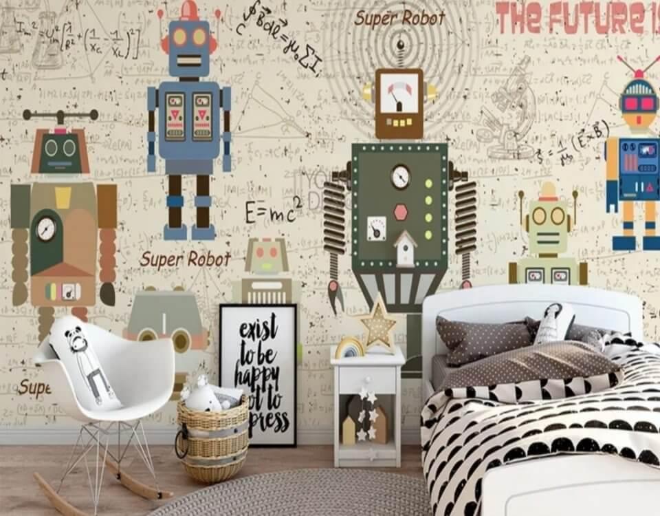 Роботы для интерьера детской комнаты на материалах премиум качества. Сертификаты качества. Безопасные, моющиеся, не имеют запаха