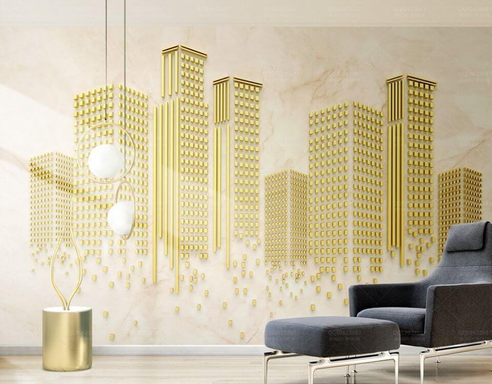 фотообои небоскребы. обои +для стен +с золотом