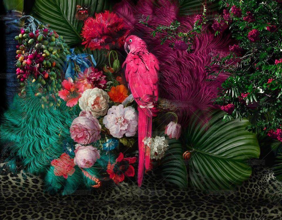 фотообои попугаи +в джунглях