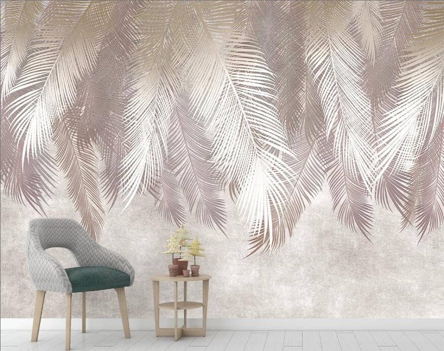 Обои перья идеальны для стен, оформленных в стиле эко и ар-деко. Необычные изысканные рисунки сделают любую комнату предельно воздушной. Объёмный узор отлично впишется в просторное помещение, а вытянутая форма перьев визуально увеличит даже небольшую высоту потолков. Приглушённая пастельная гамма будет актуальна даже при смене стиля оформления.