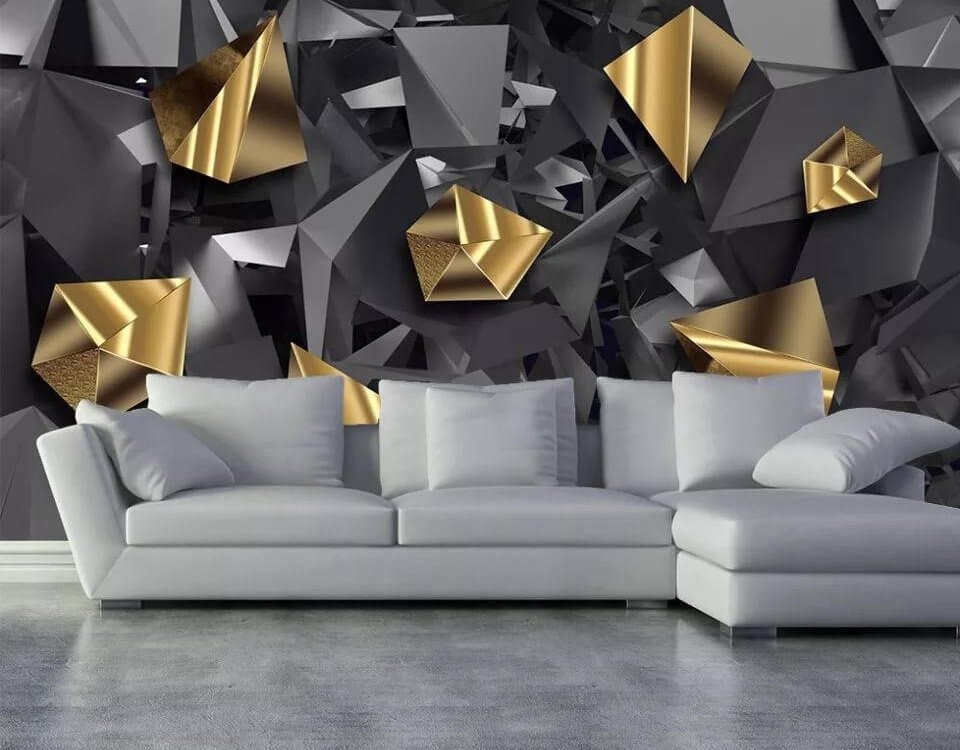 Черные и золотые треугольники на бесшовных обоях с геометрией