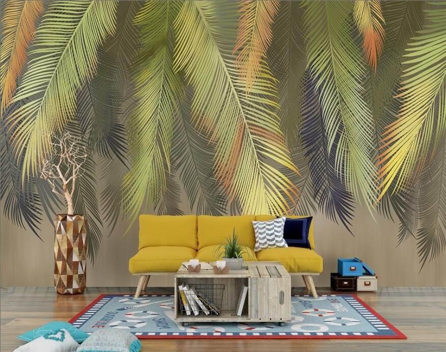 фотообои пушистые листья пальмы. фотообои свисающие листья пальмы. фотообои пальмовые ветки на бесшовных или рулонных материалах.