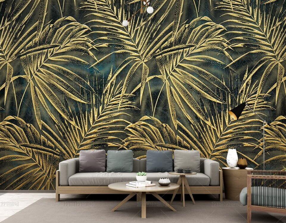 Тропические листья на бесшовной текстуре на богатом темном фоне. Большой выбор материалов, в т.ч. натуральные фрески
