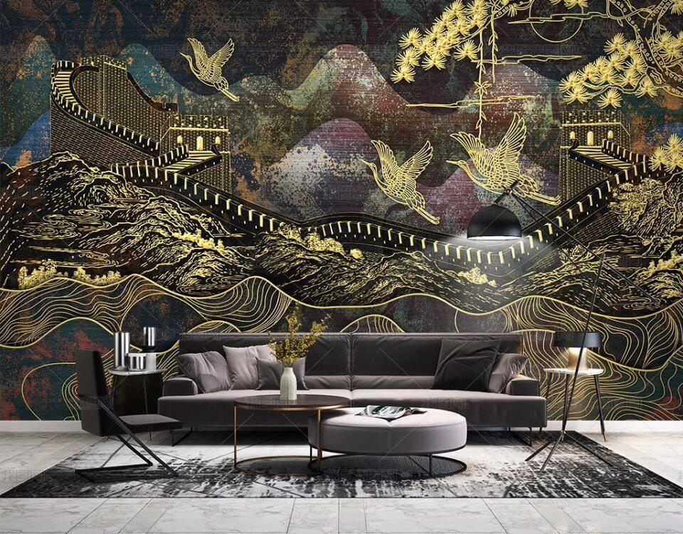 Фотообои с великой китайской стеной и золотыми птицами. Бесшовные текстуры до 3.2 метра