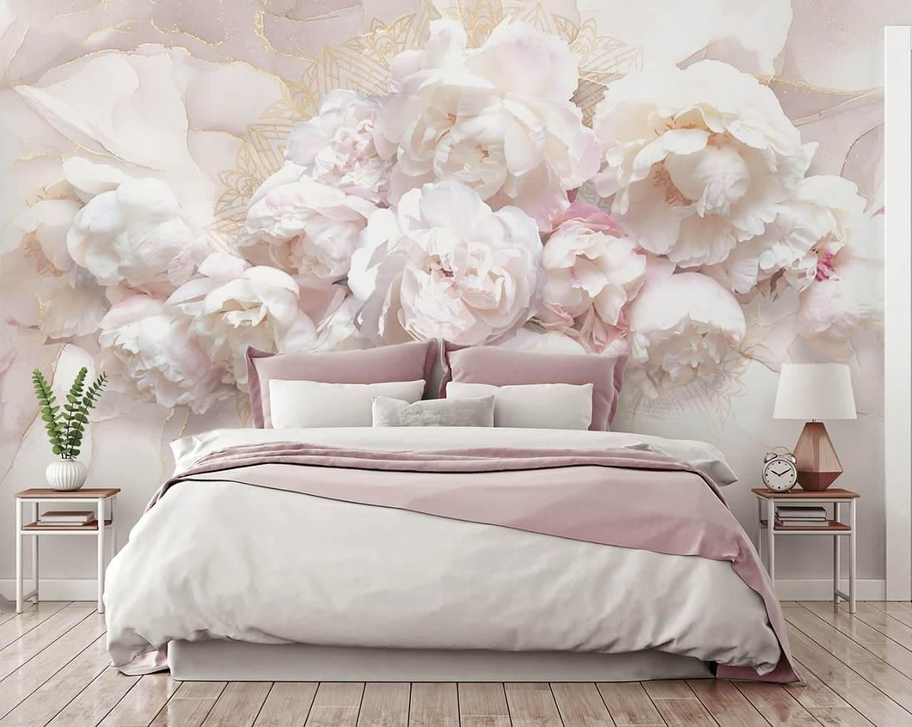 фреска пионы. фреска цветы