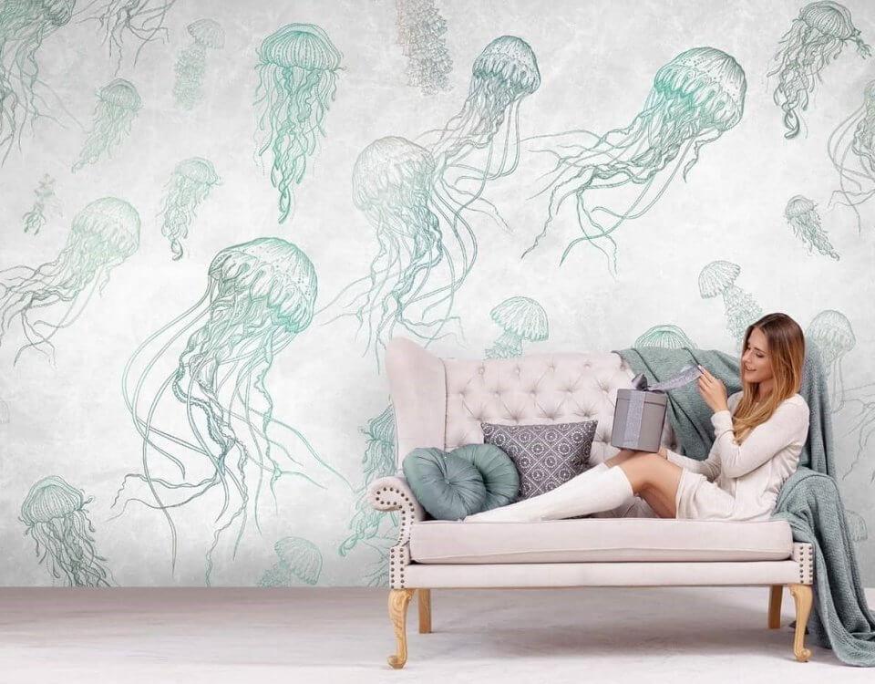 Необычные принт с медузами для спальни, гостиной и комнаты подростка. Всем кто влюблен в водную стихию