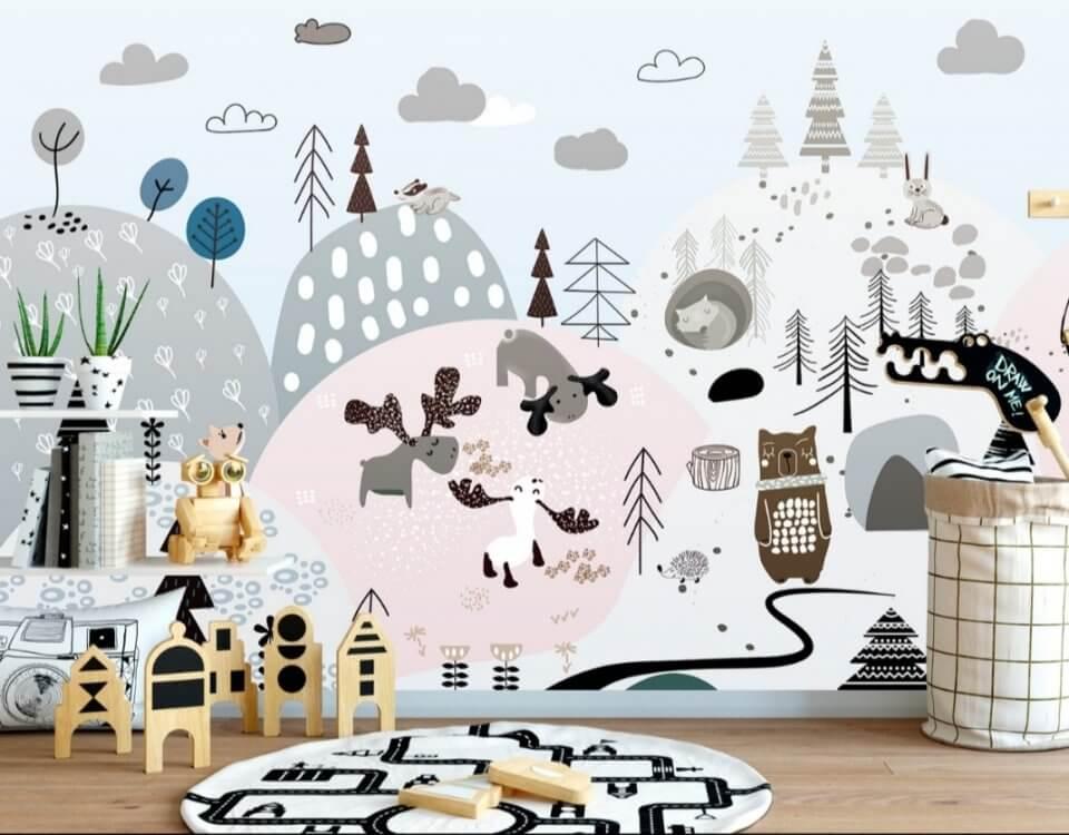 Особенность скандинавского стиля — это простота исполнения и большое количество интересных деталей. Детские обои в скандинавском стиле купить можно для ребёнка любого возраста и пола, их дизайн — забавные рисунки животных и деревьев. Пастельные тона легко создадут в комнате особенную атмосферу. Вертикальные стволы стилизованных ёлочек подчеркнут размеренность дизайна, добавив в него уют и спокойствие.