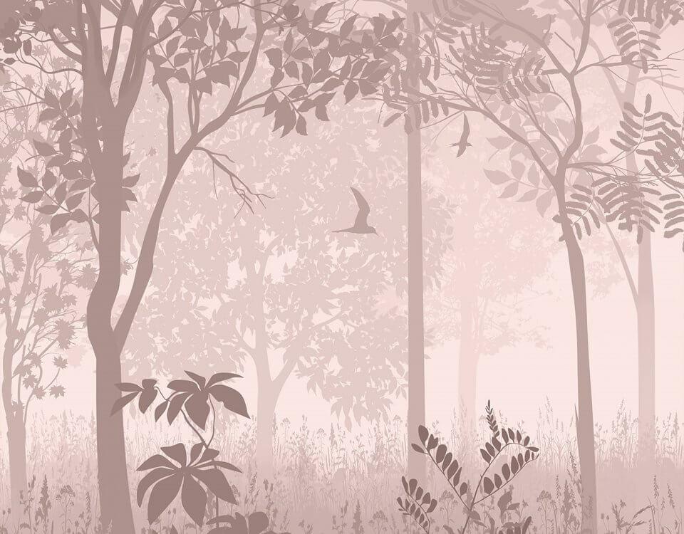 Лес на бежевом фоне будет идеальным украшением для спальни или детской комнаты