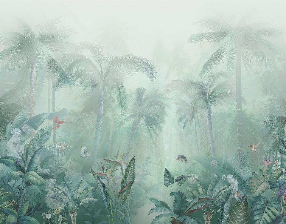 Аффреска тропический лес в дымке