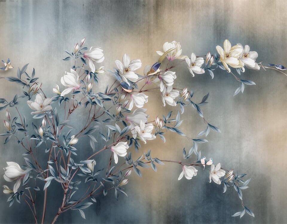 Шинуазри обои с красивыми цветами и птицами для декора помещений