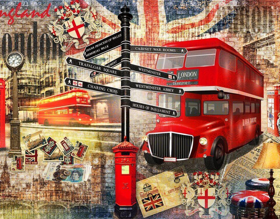 Лондон в стиле печворк отличное изображение для декора кабинета или комнаты подростка